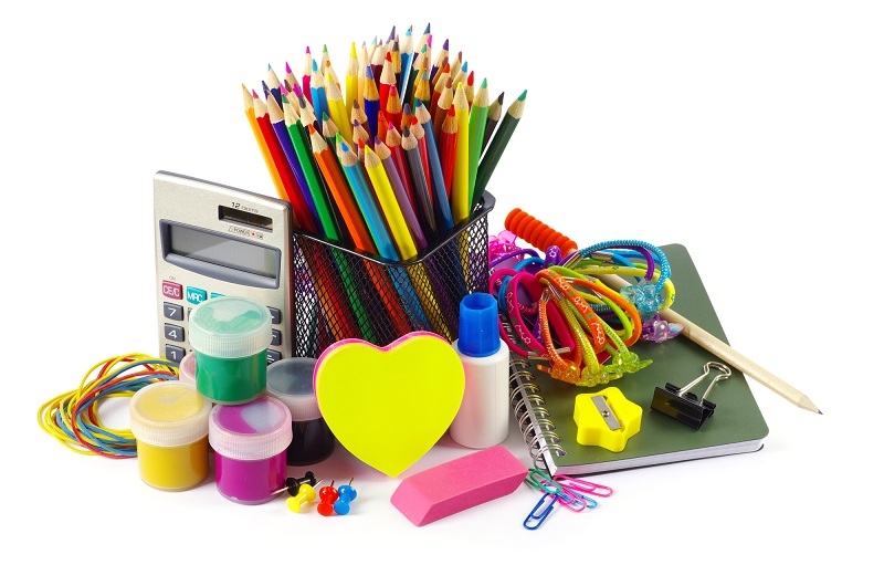 Back to school supplies on white