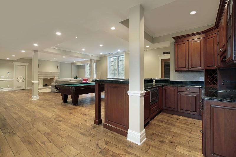 basement with wood floor