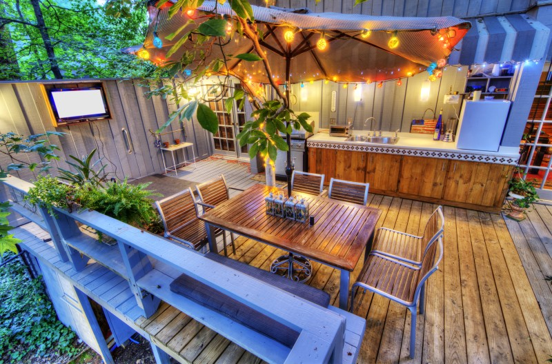 wooden patio from pressure treated wood