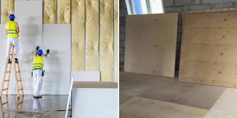 comparing drywall and plywood material for walls