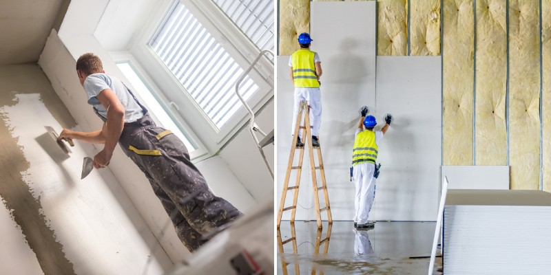 plaster or drywall for interior walls