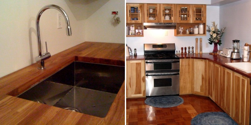kitchen counters with wood butcher block