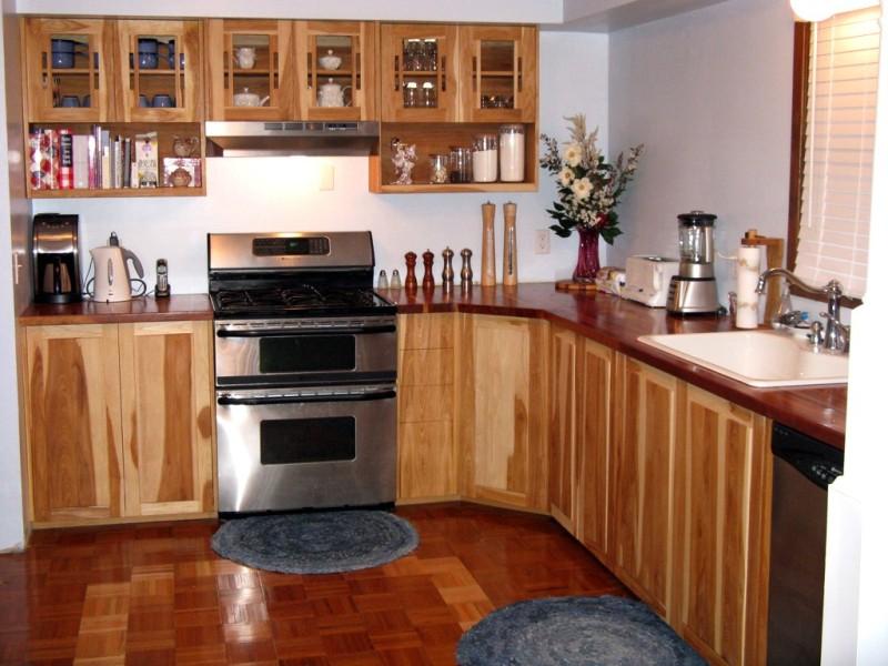 kitchen with cherry wood butcher block
