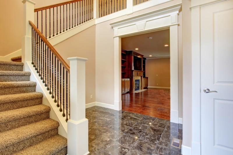 brown carpet stairs