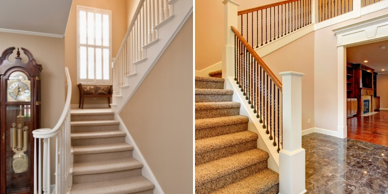 home stairs with carpets