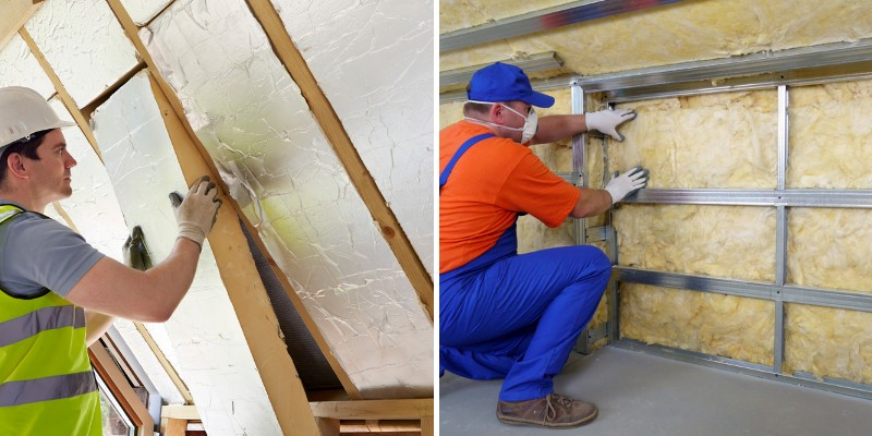 workers installing faced and unfaced insulation