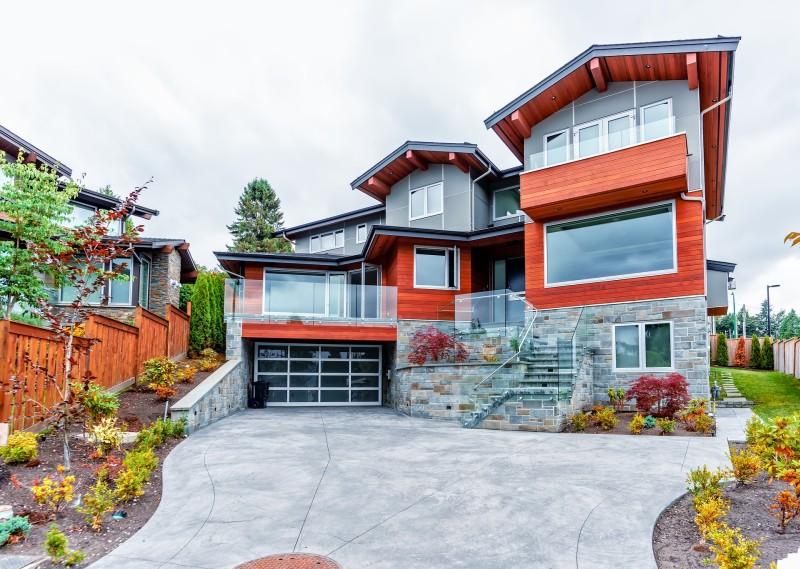 mansion with big garage door